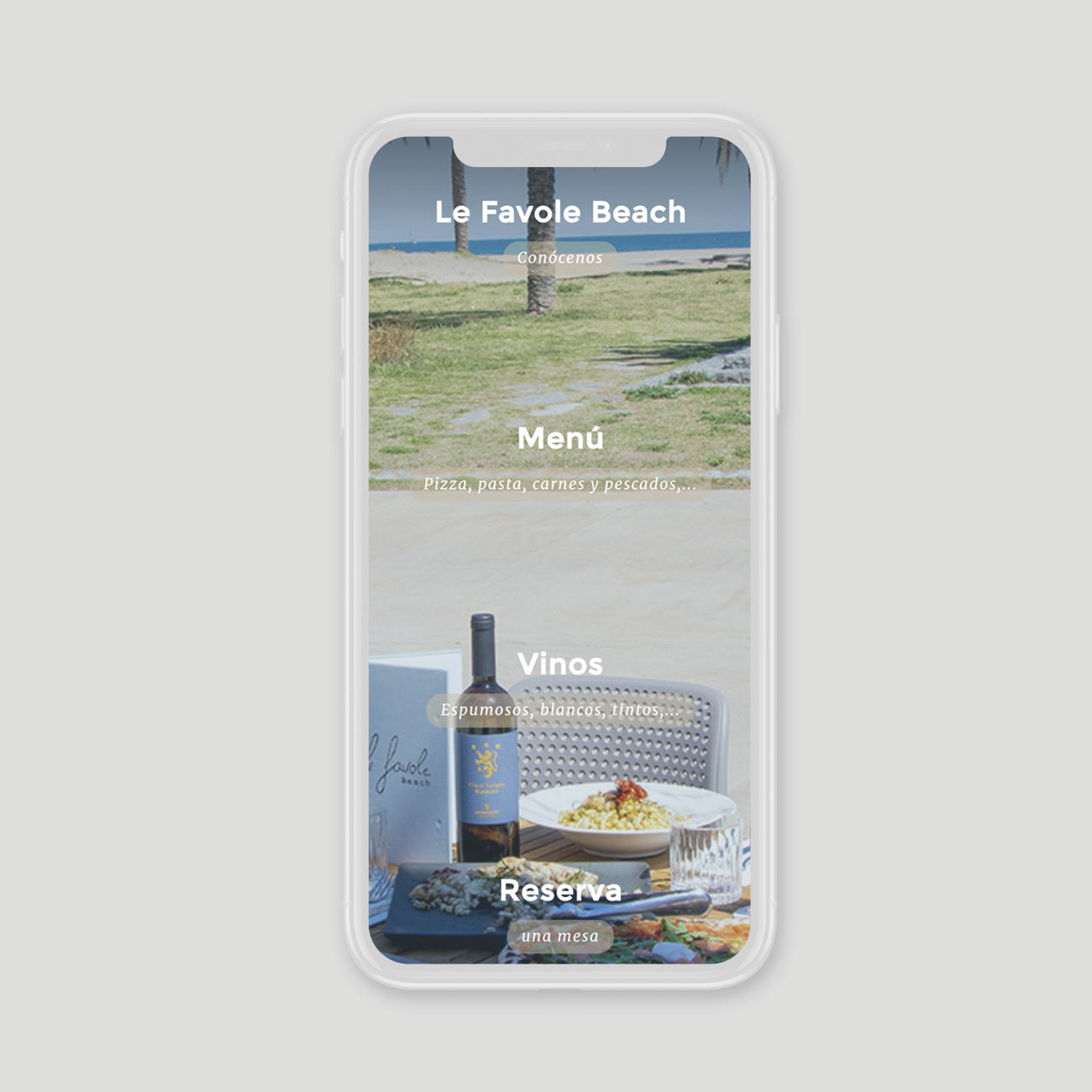 Web Le Favole Beach RIstorante por Creatias Estudio